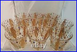 10 Culver 22kt Gold Harlequin Jester Mardi Gras Lowball Bar Glass Midcentury Mod