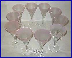 10 Signed Mid Century Pink Crystal Dorothy Thorpe Champagne Wine Water Glasses