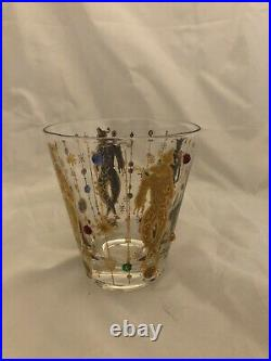 10 Vintage CULVER 12oz Tumbler 22K mid century Jester Mardi Gras jeweled glasses