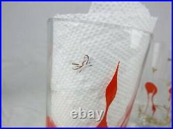 10 Vtg 1956 Mid Century Federal Glass Stylized Red Flamingo Bar Glasses 22K Gold