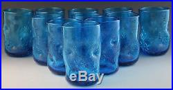 11 Mid Century Modern Blenko Sapphire Blue Pinched Crackle Glass Tumbler Set