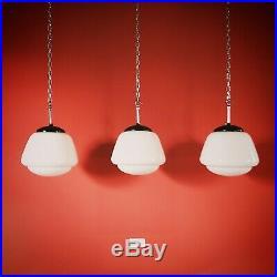 12 Available Vintage Czech School White Glass Pendant Lights Opaline Milk Glass