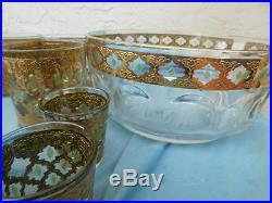 12 Culver Valencia MID Century Mad Men Gold Green Set Of Glasses Barware