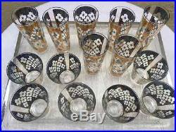 14 Culver Valencia MID Century Mad Men Gold Green Set Of Glasses Barware