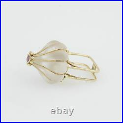 14k YG Mid Century Modern Lalique Style Glass & Ruby Ring Size 6
