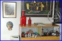 17 Holmegaard Vtg Mid Century Danish Modern Red Glass Gulvase Brauer Denmark
