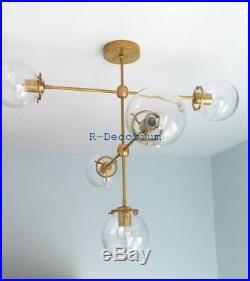 1950 MID Century Glass Globe Brass Sputnik Chandelier Flush Mount Pendant Atomic