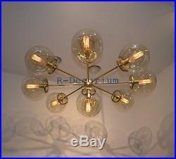 1950's MID CENTURY GLASS GLOBE BRASS SPUTNIK CHANDELIER FLUSH MOUNT PENDANT ATOM