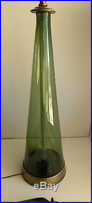 1950's Mid-Century Modern Green Blown Art Glass Blenko Table Lamp & Finial
