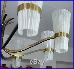 1950's mid century modern stilnovo era CHANDELIER brass with 8 glass shades