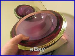 1950s SET mid century modern glass geode bowl vtg murano eames era furniture art