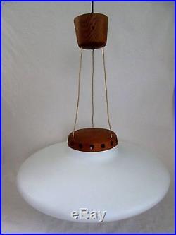 1952-55 Mid Century Modern Luxus Opaline Glass UFO Ceiling Lamp