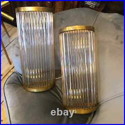 1970S Mid-Century Modern Brass and Glass Italian Wall Sconces 4 Available