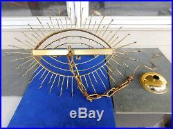 1970's Mid Century Modern Kalmar Style 98 Prisms Glass Icicle Brass Chandelier