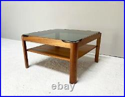 1970s mid century teak and smoked glass coffee table by Myer