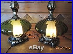 1 Pair 1971 Mid Century Hollywood Regency Large Green Glass Base Lamps Large 26