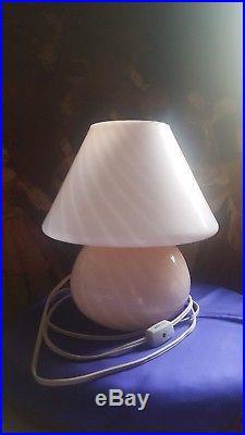 1 Vintage Pink Murano Italia Mid-century Modern Mushroom Glass Table Lamps