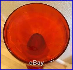 27 Wayne Husted Orange Swirl Blenko Decanter Jar WithStopper Mid Century Modern