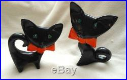 2 Black Ceramic Cats Orange Bows Glass Eyes Mid-century Freeman Mcfarlin Style