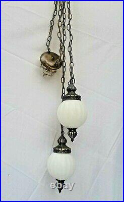 2 Globed Vtg Mid Century Milk Glass Ribbed Swag Light Fixture