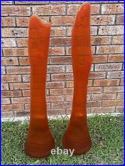 2 HUGE 40 Mid Century Modern Orange Swung Glass Vase Set Tall Hobnail Iconic
