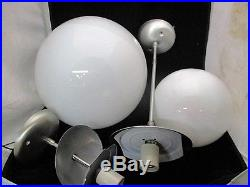 2 Mid Century Ceiling Lights White Glass Orbs Slim Line Fixtures Virden lighting