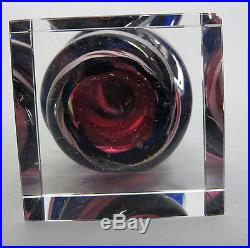 (2) Mid Century Modern Murano Italy Twisted Pink&Purple Art Glass Sculptures yqz