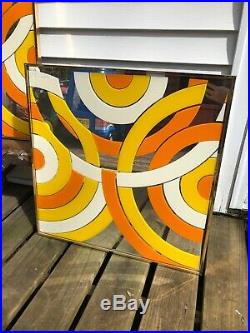2 Mid Century Retro Painted Glass Geometric Wall Art Mirrors 24x 24 MCM