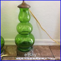 2 Vintage MID CENTURY Modern MCM RETRO 1960's 70's Green Glass Lamps Castilian
