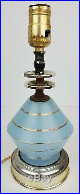 (2) Vintage Mid Century Deco Gold Stripe Blue Frosted Atomic Glass Lamps Tested