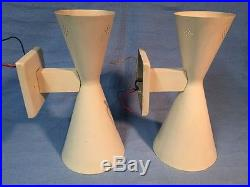 2 Vintage Mid Century Double Cone Hour Glass Wall Light Lamp Atomic