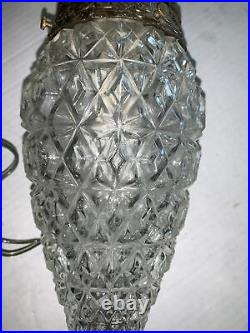 2-Vintage Mid Century Glass Hanging Light Fixture Double Pineapple Swag Lamp