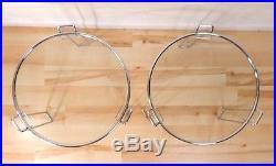 2 Vintage Mid Century Modern Minimalist Glass Metal Chrome Side End Tables stand