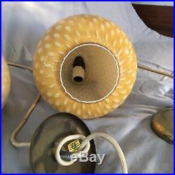 2 Vintage Murano Yellow Glass Pendant Lights Mid Century Modern