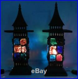 2 Vintage c1970 Mid Century Modern Chunk Glass LanternsLightsPeter Marsh Style