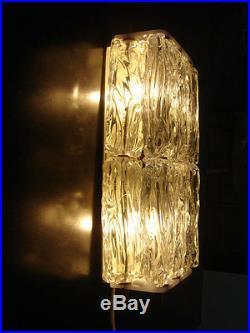 2x Mid Century WALL LAMPS Sconces VEREINIGTE WERKSTÄTTEN Murano Glass by VENINI