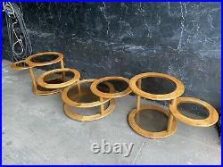 3 Milo Style Swivel Round Mid Century Wood Modular Coffee Side Tables Glass