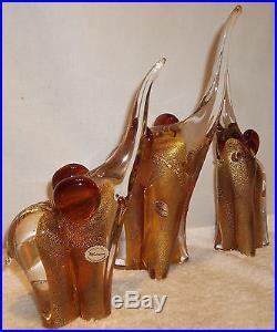 3 Vittorino Sergio Zane Murano Gold Aventurine Art Glass Elephants Mid Century