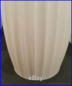 3x Vtg Mid-Century Modern Tension Pole Frosted Milk Glass Lamp Shades 8
