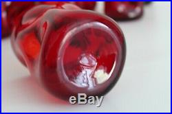 4 Blenko Vtg Mid Century Modern Red Pinch Tumbler Drinking Art Glasses Retro 4