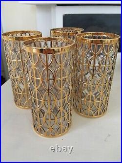4 Vintage Mid Century Imperial Glasses El Tabique De Oro Gold Highball Glasses