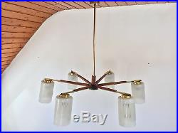 50s Denmark Mid Century Sunburst Teak Glass Chandelier Danish Era Nelson Tynell