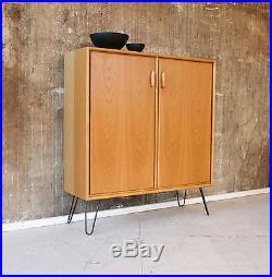 60er EICHE KOMMODE VINTAGE 60s OAK GLASS CABINET MID CENTURY 70s 70er