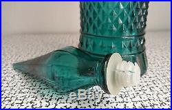 60s 70s Vintage Teal Glass Moon & Stars Genie Bottle Italian Empoli Mid Century