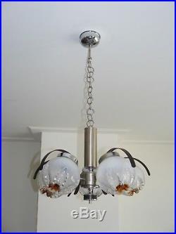 60s 70s midcentury Italian Murano Mazzega glass chandelier lamp, Stilnovo Guzz