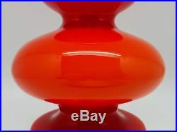 60s Holmegaard Carnaby Orange / Red Art Glass Vase Per Lutken Mid Century Mod