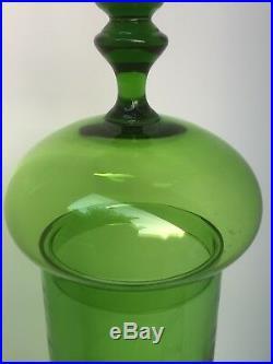 60s Large 24.5 Tall Empoli Glass Murano Italy Apothecary Jar Mid Century Modern