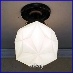 656b Vintage Mid-Century Ceiling Light Lamp Fixture Glass bath hall porch eames