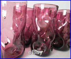 6 BLENKO VINTAGE MID CENTURY PINCHED DIMPLE PURPLE ART GLASS BLENKO TUMBLERS