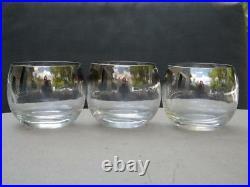 6 Dorothy Thorpe Roly Poly Silver Rim Glasses 4 Oz. Mad Men Mid Century Modern